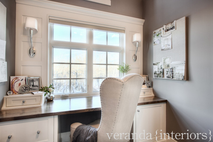Built In Desk - Transitional - den/library/office - Veranda Interiors