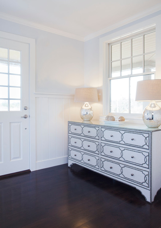 Nailhead dresser transitional entrance foyer for Mineral wall