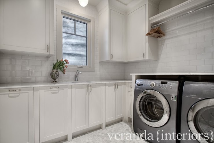Light Gray Subway Tiles Transitional Laundry Room