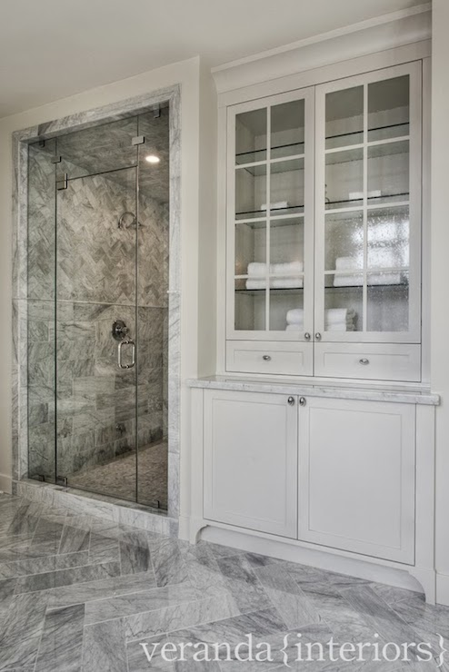 See Through Cabinets Cottage Bathroom Eric Roth Photo