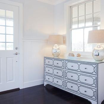 Nailhead Dresser, Transitional, entrance/foyer, Benjamin Moore Mineral Ice, Christopher Home Furnishings