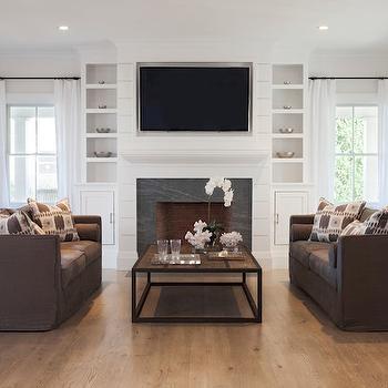 Brown Slipcovered Sofas, Transitional, living room, Christopher Home Furnishings