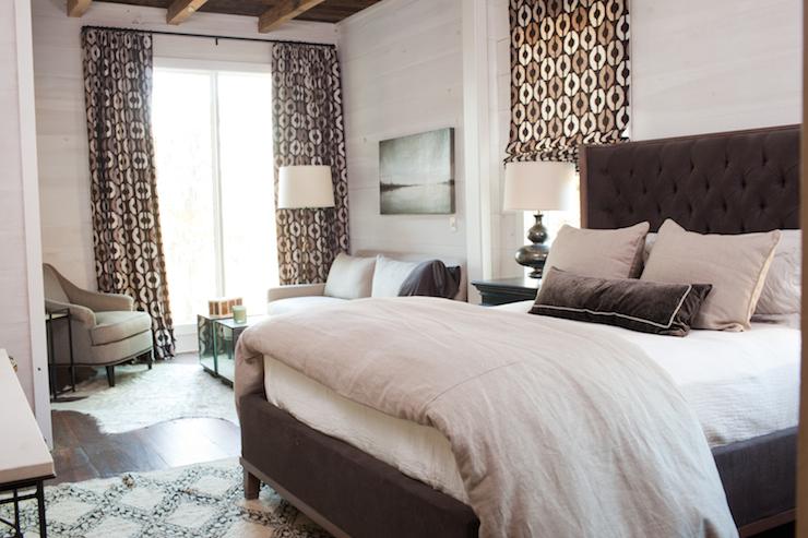 Brown Velvet Tufted Bed Transitional Bedroom Summer