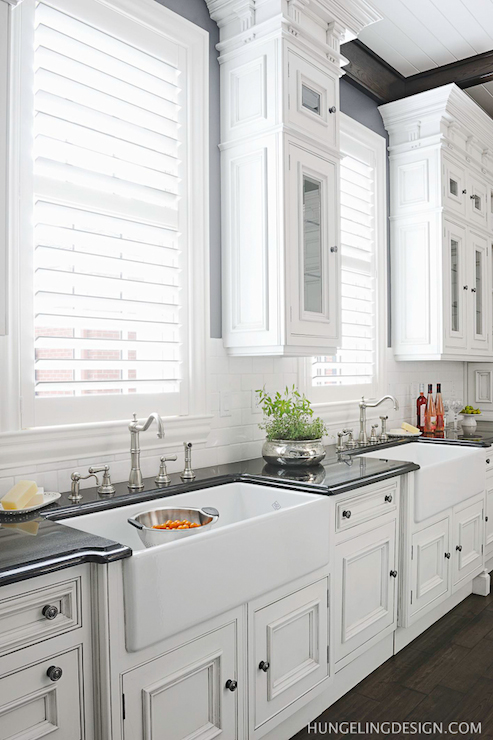 Double Kitchen Sinks Transitional Kitchen Benjamin Moore Stormy Sky Hungeling Design