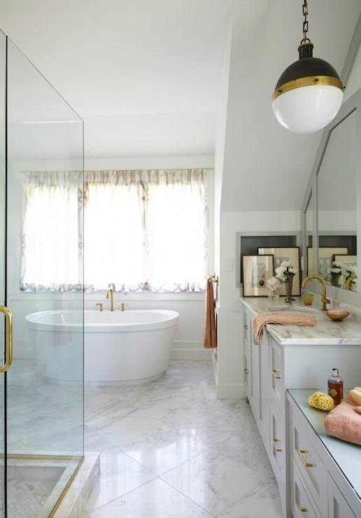 Brass Bathroom Fixtures Transitional Bathroom Rebecca Hawkins - Brass colored bathroom faucets
