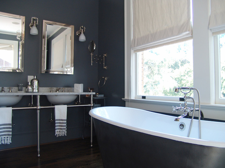 Navy Bathroom Contemporary Bathroom Soorikian