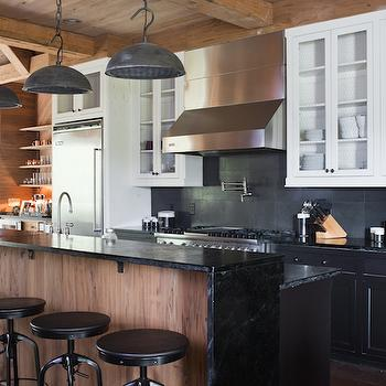 Black Lower And White Upper Kitchen Cabinets black vintage kitchen barn pendants design ideas