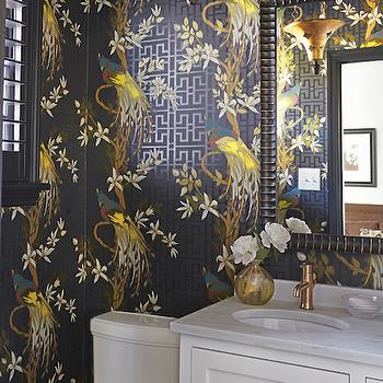 Nina Campbell Wallpaper Eclectic Bathroom Sherwin