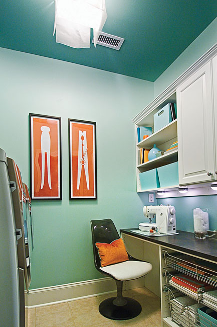 Green Blue Paint Colors Transitional Laundry Room