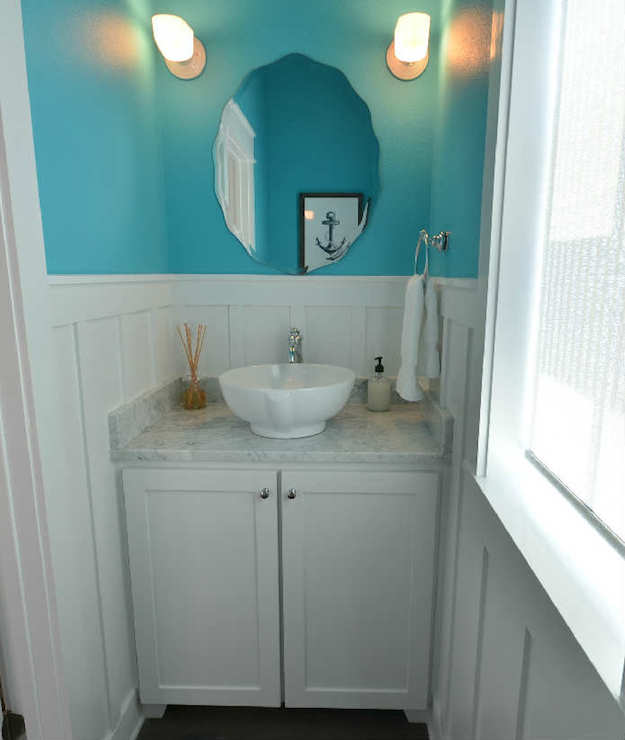 White And Turquoise Powder Rooms Design Ideas