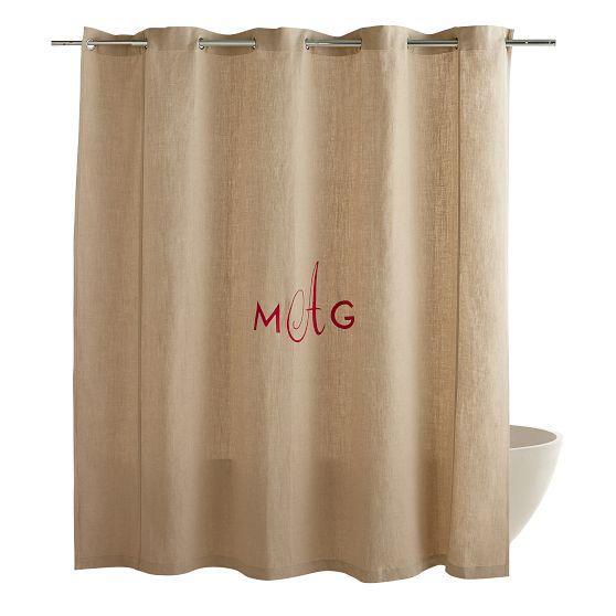 Typographers Beige Linen Shower Curtain