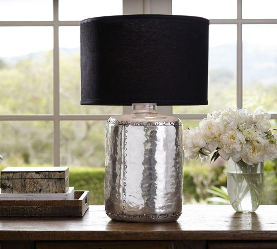 Nielson rivet silver table lamp base aloadofball Choice Image