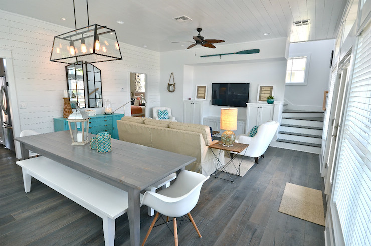 View Full Size Gorgeous Beach House Living Room With White