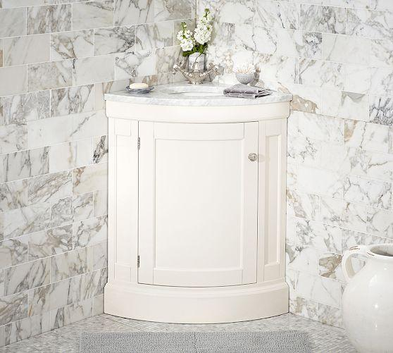 Brinkley Demilune Single Corner White Sink Console
