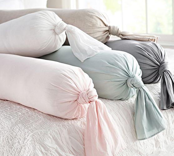 Linen Knot Bolster Various Colors Pillow Cover