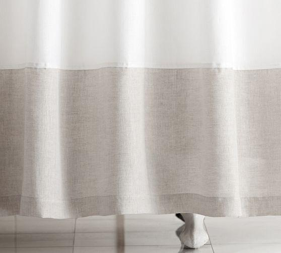 Linen Banded White Shower Curtain