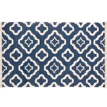 Geometrical Kilim Blue Cream Rug Runner