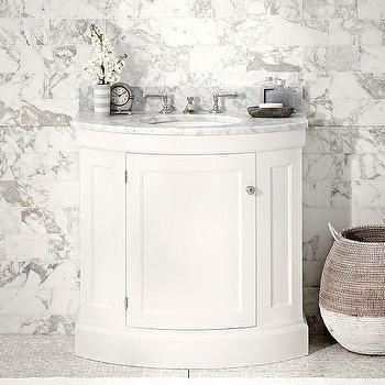 Brinkley Demilune Single Corner White Sink Console
