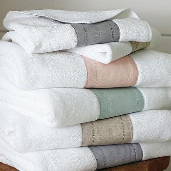 Linen Banded Bath Towels, Pottery Barn