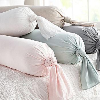 Linen Knot Bolster Pillow Cover, Pottery Barn