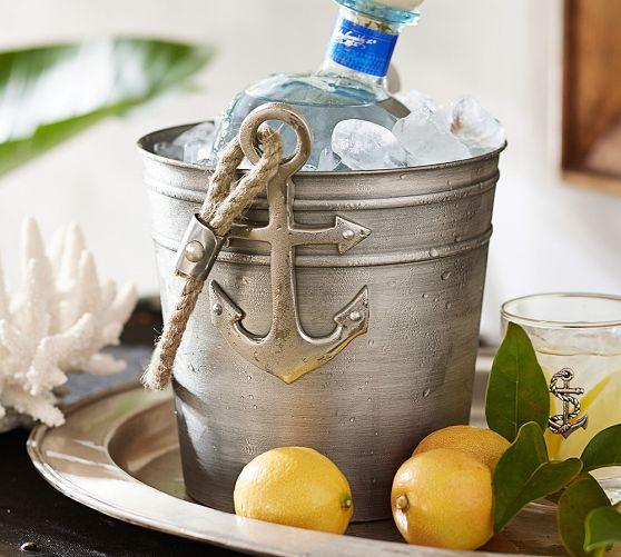 Silver Hammered Rope Handle Ice Bucket