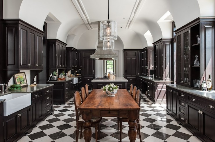 Black And White Traditional Kitchen black stoveand hood - transitional - kitchen - traditional home