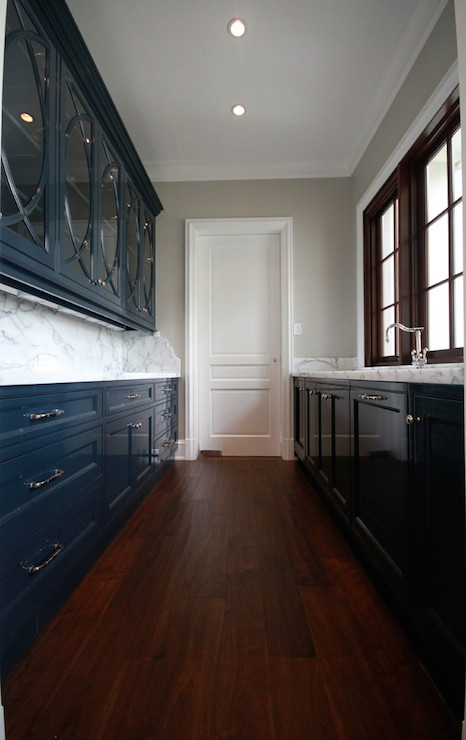 White And Navy Blue Kitchen Eclectic Kitchen Sara