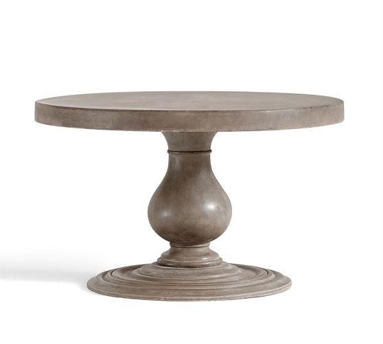 Geneva Grey Concrete Round Fixed Dining Table - Concrete pedestal dining table