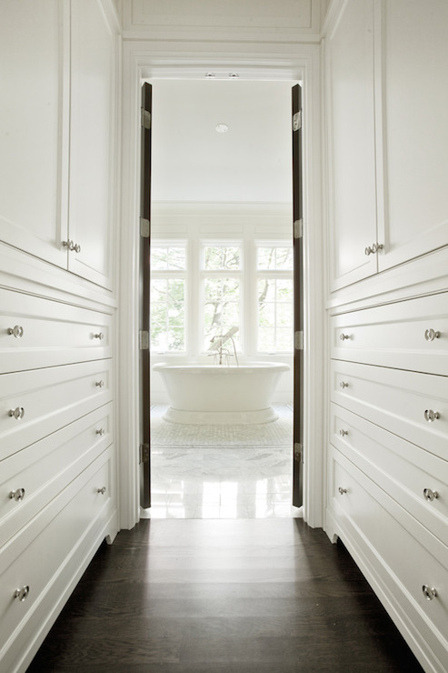 Walk through closet transitional closet pld custom homes for Master bathroom designs with walk in closets