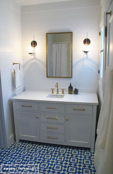 Caesarstone Pure White Countertops Cottage Bathroom