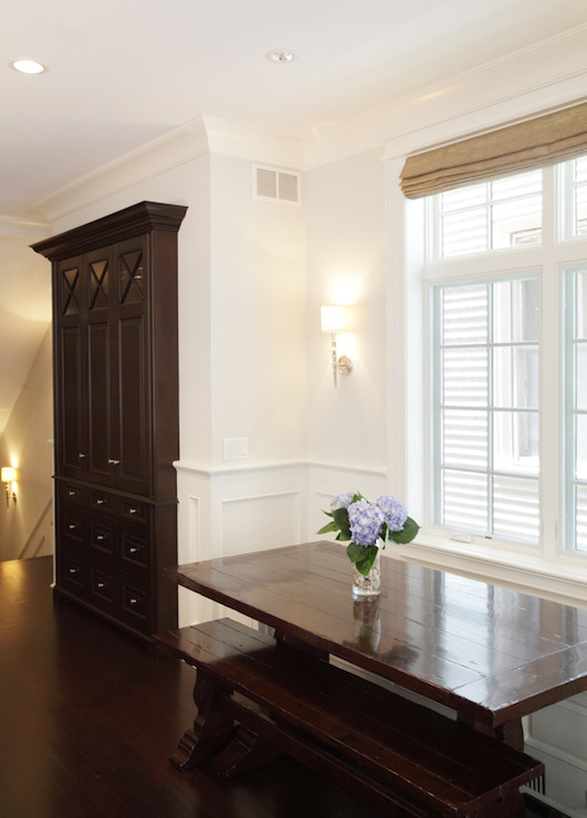 Walls On Upper Part Of And Wainscoting Bottom Framing Trestle Dining Table Paired With Matching Bench Placed Under Windows Next