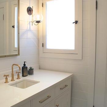 White Vanity with Brass Pulls, Cottage, bathroom, Amber Interiors