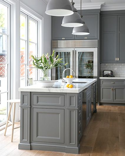 White Cabinets Gray Subway Tile Kashmir White Granite: Lonny Magazine