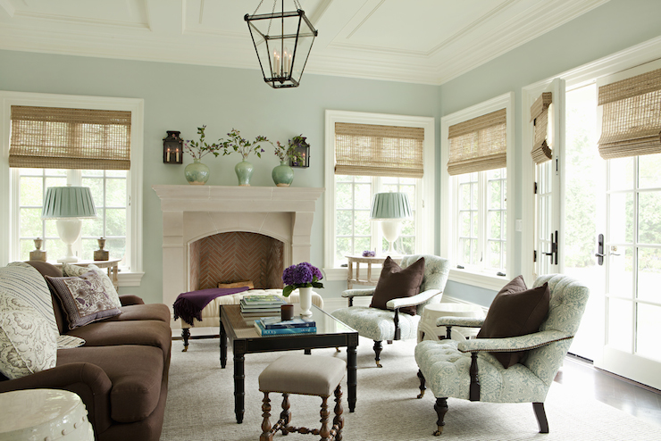 Brown And Green Living Room With Seafoam Walls Framing Windows French Doors Dressed In