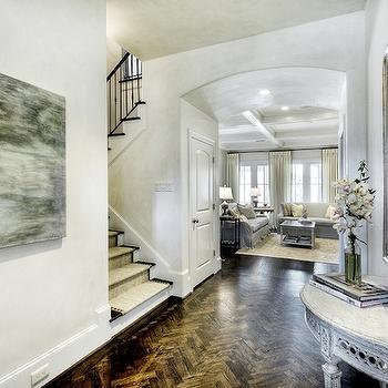 Wood Chevron Floors, French, entrance/foyer, Brooke Mcguyer Interiors