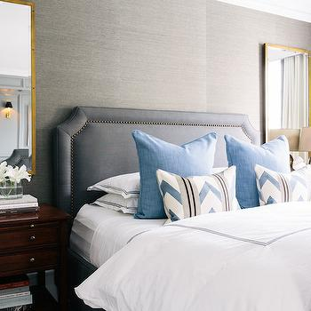 Gray Grasscloth, Transitional, bedroom, Lonny Magazine