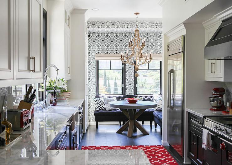 Black Lower And White Upper Kitchen Cabinets black and white kitchen - contemporary - kitchen - lonny magazine