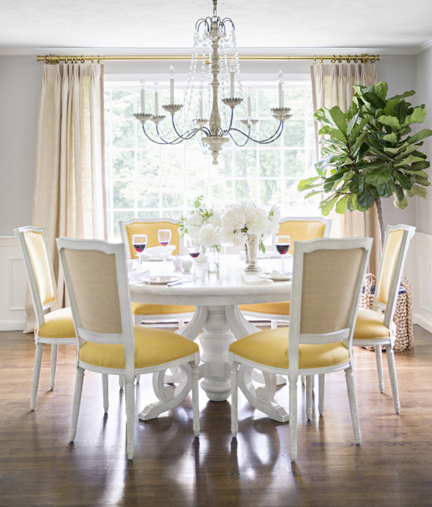 Yellow And Gray Dining Room With Wainscoting Below Upper Walls Painted Farrow Ball Cornforth White Which Frames Sun Drenched Windows Dressed