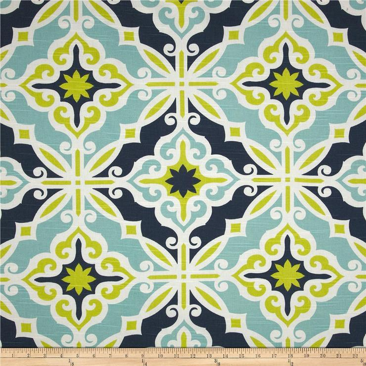 Premier Prints Harford Slub Canal Blue And Green Fabric