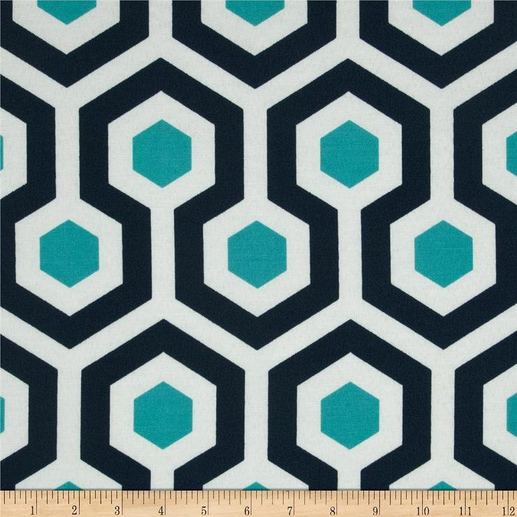 Prints Indoor Outdoor Magna Oxford Navy and Turquoise Fabric