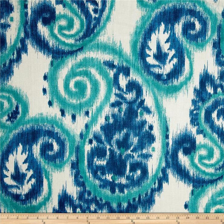 Carravagio Paisley Riviera Blue and White Fabric