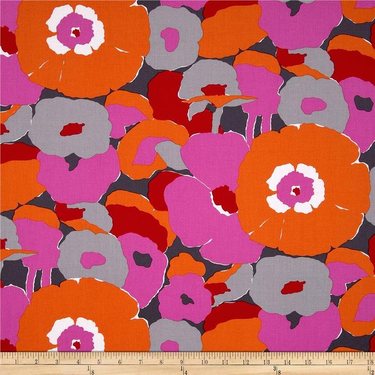 Aunties Attic Mod Flowers Canvas Red Fabric