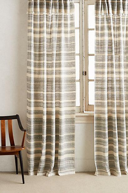 Striped Black and Ivory Linen Curtain
