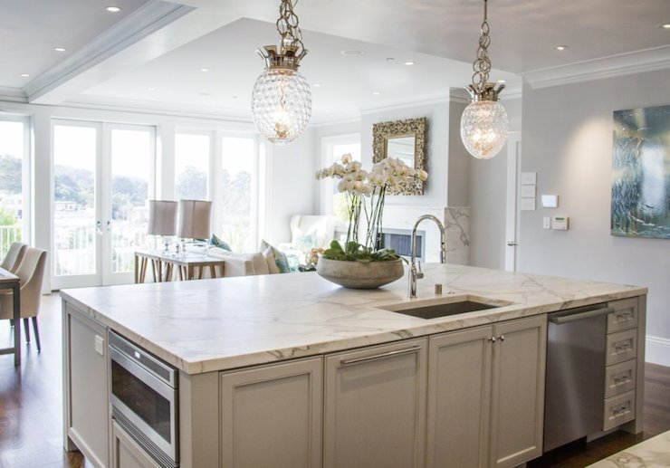 light grey kitchen cabinets global views crown pendant transitional kitchen 6992