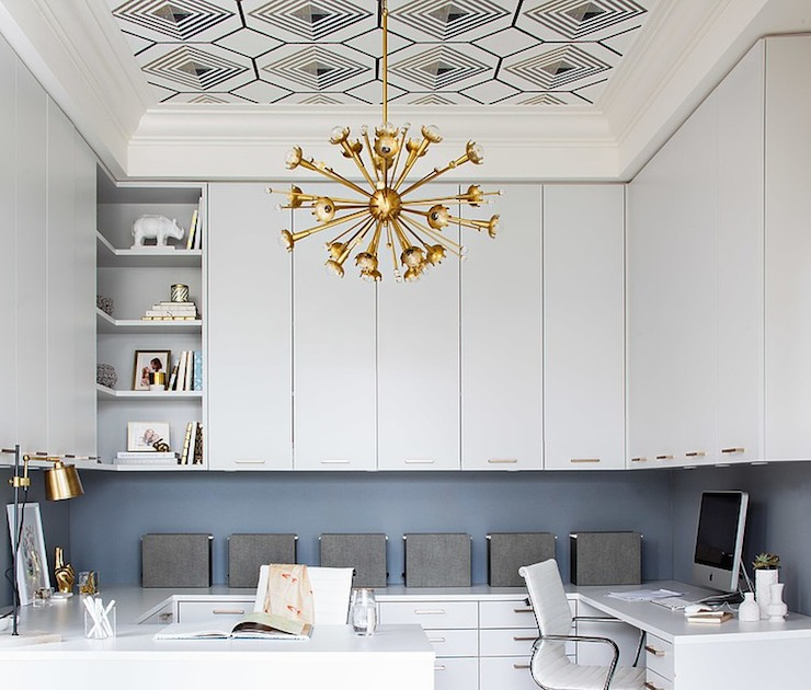 Tray ceiling wallpaper contemporary den library office for Ceiling wallpaper