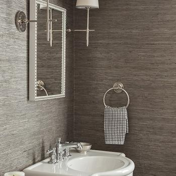 Gray Grasscloth, Transitional, bathroom, Design Manifest