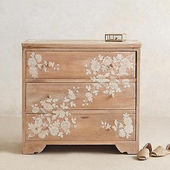 Pearl Inlay Narrow Tan Dresser