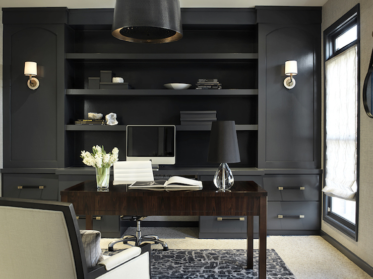 Gold and black french desk with black french round black for Den study design ideas