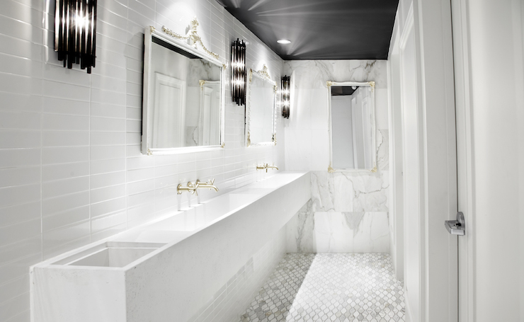 Floating Trough Sink Contemporary Bathroom Commute