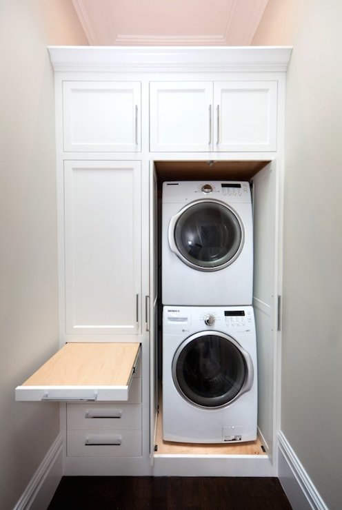 Pull out laundry room cabinet with ironing board transitional laundry room - Washer dryers for small spaces ideas ...